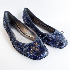 Adrianna Papell Blue Black Sequin Ballet Flats